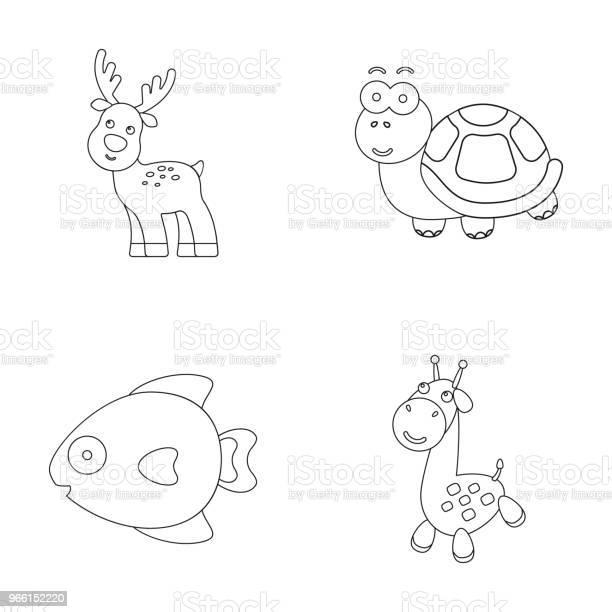 Een Onrealistisch Overzicht Dierlijke Pictogrammen In Set Collectie Voor Design Speelgoed Dieren Vector Symbool Voorraad Web Illustratie Stockvectorkunst en meer beelden van Boerderij