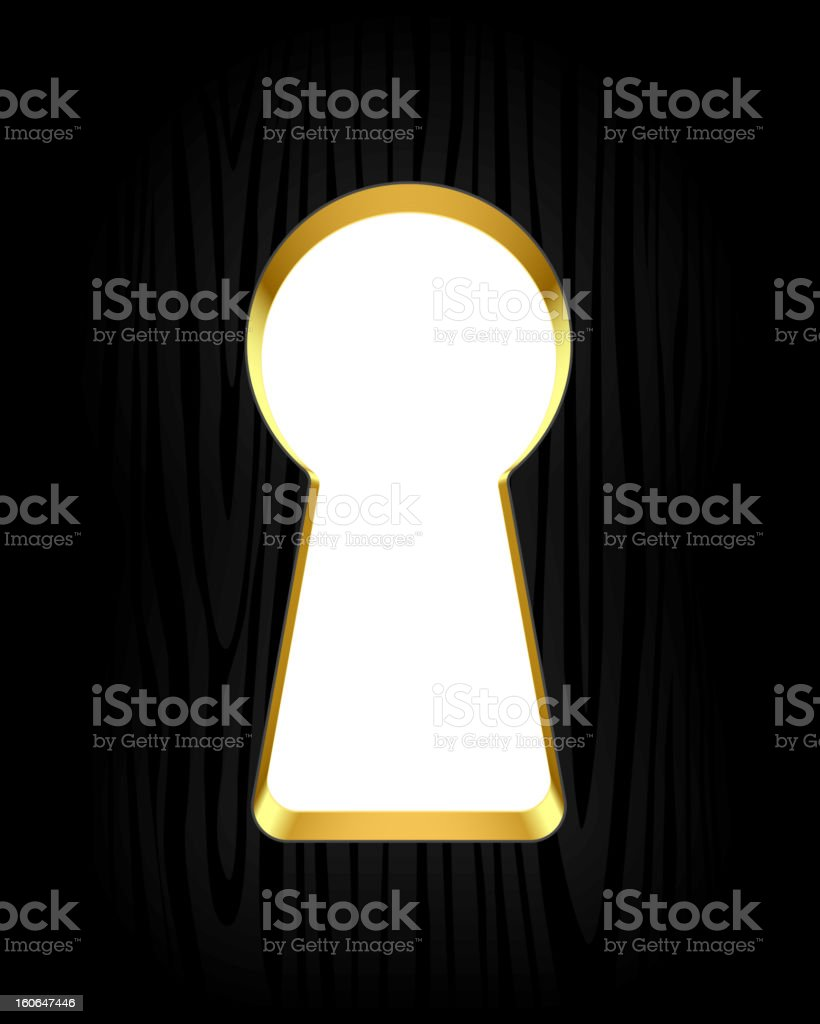 An up close picture of a keyhole vector art illustration
