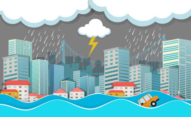 illustrations, cliparts, dessins animés et icônes de une ville urbaine sous le déluge - desastre natural