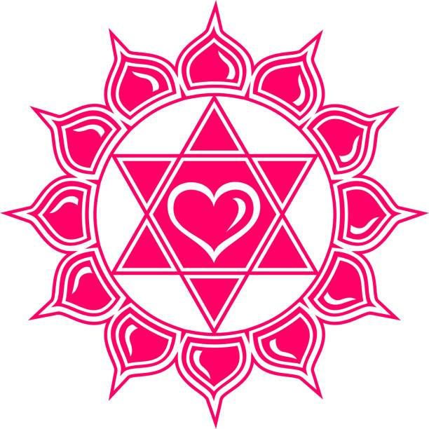 Anahata Chakra / Lotus of the Heart / Symbol Love & Compassion Anahata is the Sanskrit word for Heart Chakra, the fourth of seven major energy centers in the body. Anahata is the place where profound love is created. The traditional symbol for the heart chakra is a twelve-leaf Lotus and the traditional mantra is Yam. qigong stock illustrations