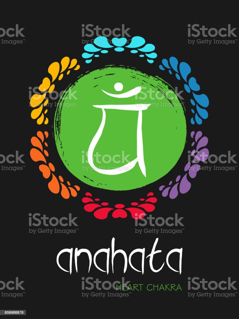 Anahata chakra symbol on a green hand drawn brush circle sun, vector zen illustration. The Heart Chakra with lotus flower ornament vector art illustration