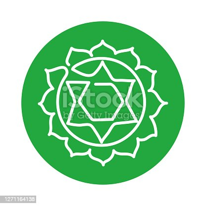 Anahata icon. One line. The fourth heart chakra. Vector green line symbol. Sacral sign. Meditation