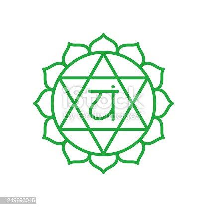Anahata icon. The fourth heart chakra. Vector green line symbol. Sacral sign. Meditation