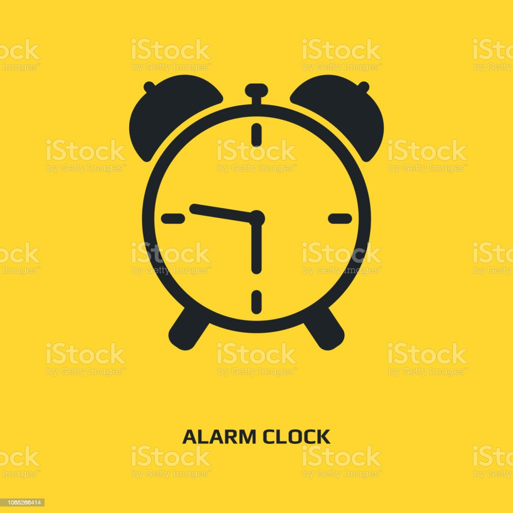 Analog Alarm Clock Icon Watch With Bell Symbol Time Sign Stock