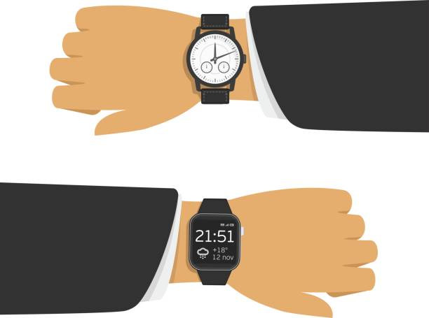 Analog and smart watch. vector art illustration
