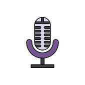 Analog, audio, microphone icon. Element of color music studio equipment icon. Premium quality graphic design icon. Signs and symbols collection icon