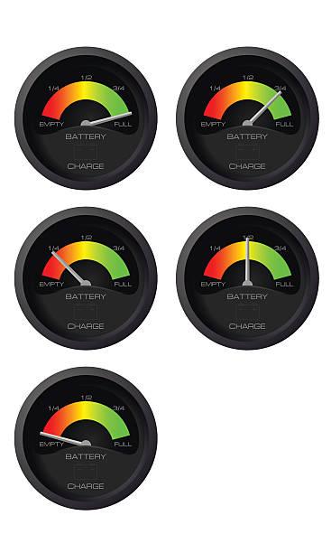 Analog battery indicator vector art illustration