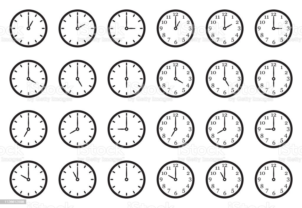 Analog Clock Icons. Black Flat Design. Vector Illustration. Minutes, Seconds, Time 12 O'Clock stock vector