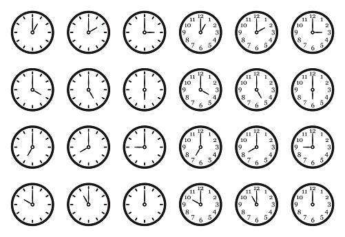 Analog Clock Icons Black Flat Design Vector Illustration Stock Illustration - Download Image Now