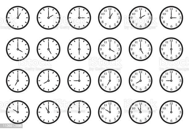Analoguhr Icons Schwarze Flache Bauweise Vektorillustration Stock Vektor Art und mehr Bilder von Alarm