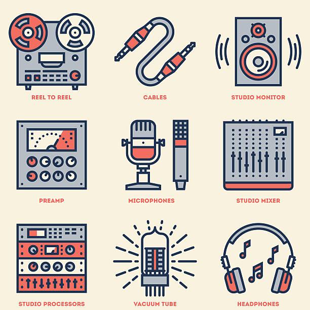 Analog Recording Music Studio. Line Design Retro Icon Set. vector art illustration