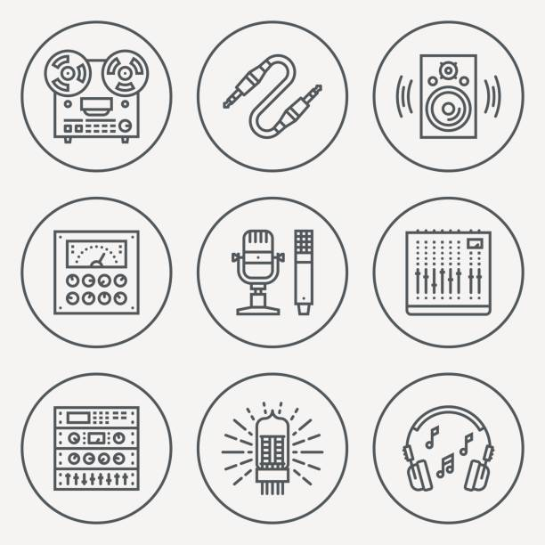 stockillustraties, clipart, cartoons en iconen met analog recording vintage music studio. line design circle icon set. vector illustrations. - radiobuis