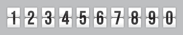 Analog Scoreboard / Countdown / Timer / Clock Set of mechanical flip countdown numbers on white background ready to use in your countdown counter, timer, scoreboard, clock design. counting stock illustrations
