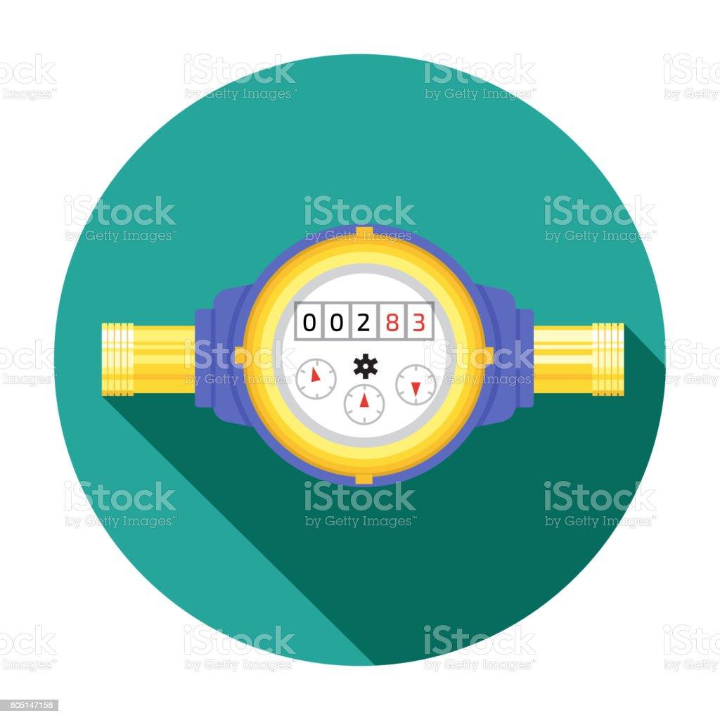 Analog water meter vector icon illustration in flat style. Sanitary equipment vector art illustration