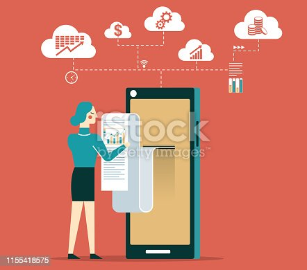istock Analysis and statistic online services - Businesswoman 1155418575
