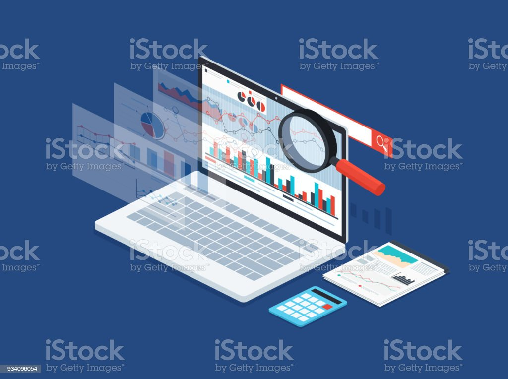 Analysis data and development statistic. Modern concept of  business strategy, search information, digital marketing, programming process. vector art illustration