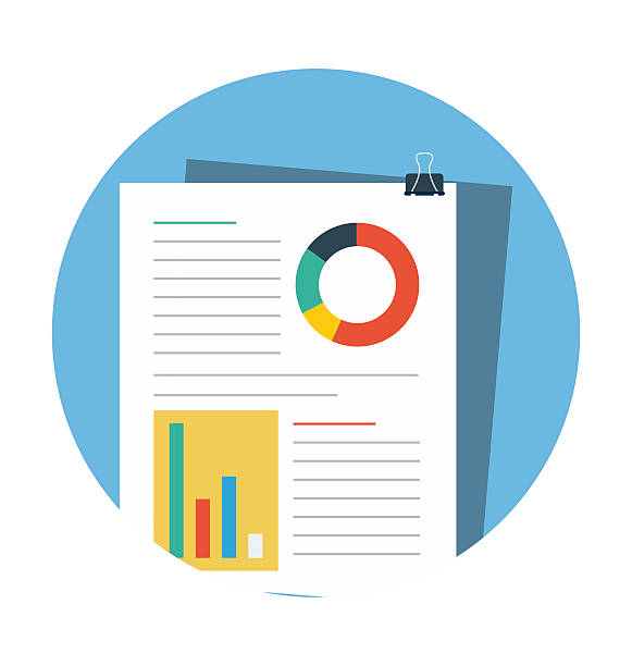 Analysis File Colored Vector Illustration web flat colored icon. financial report stock illustrations