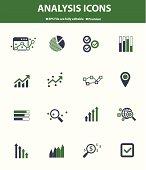 Analysis icons on white background,Green version