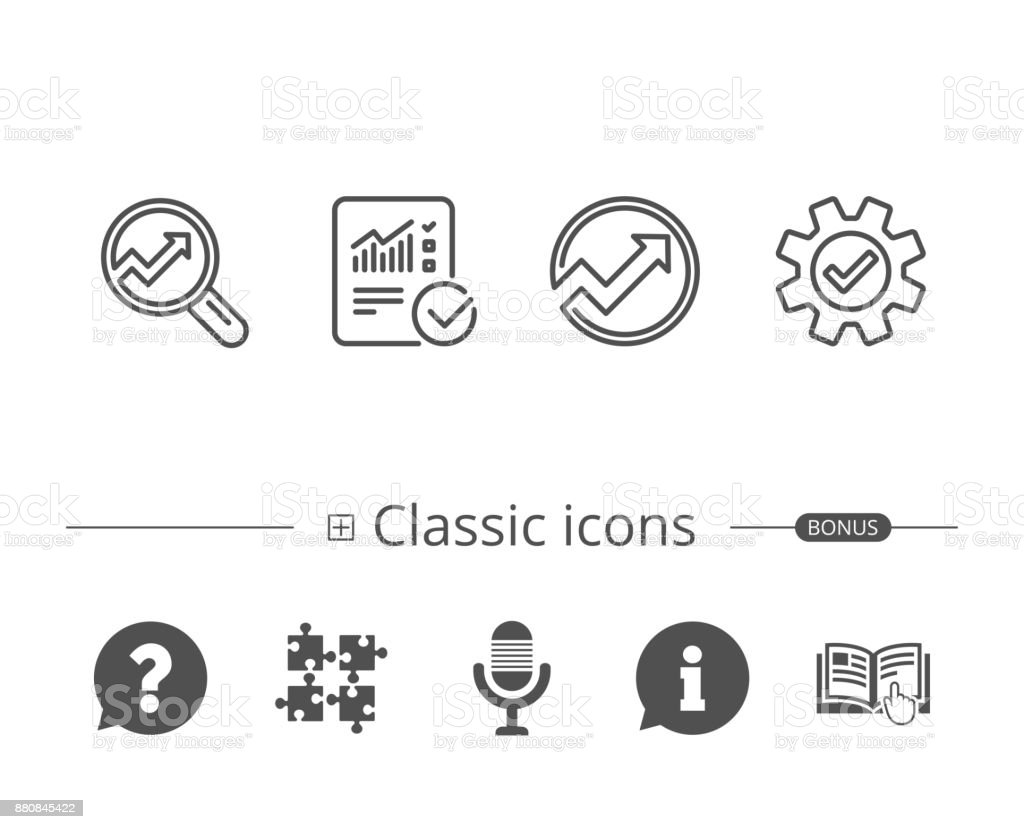 Analysis line icons. Chart, Report and Service. vector art illustration