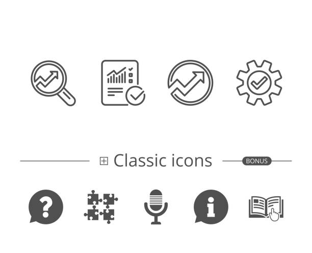 analysis line icons. chart, report and service. - data stock illustrations