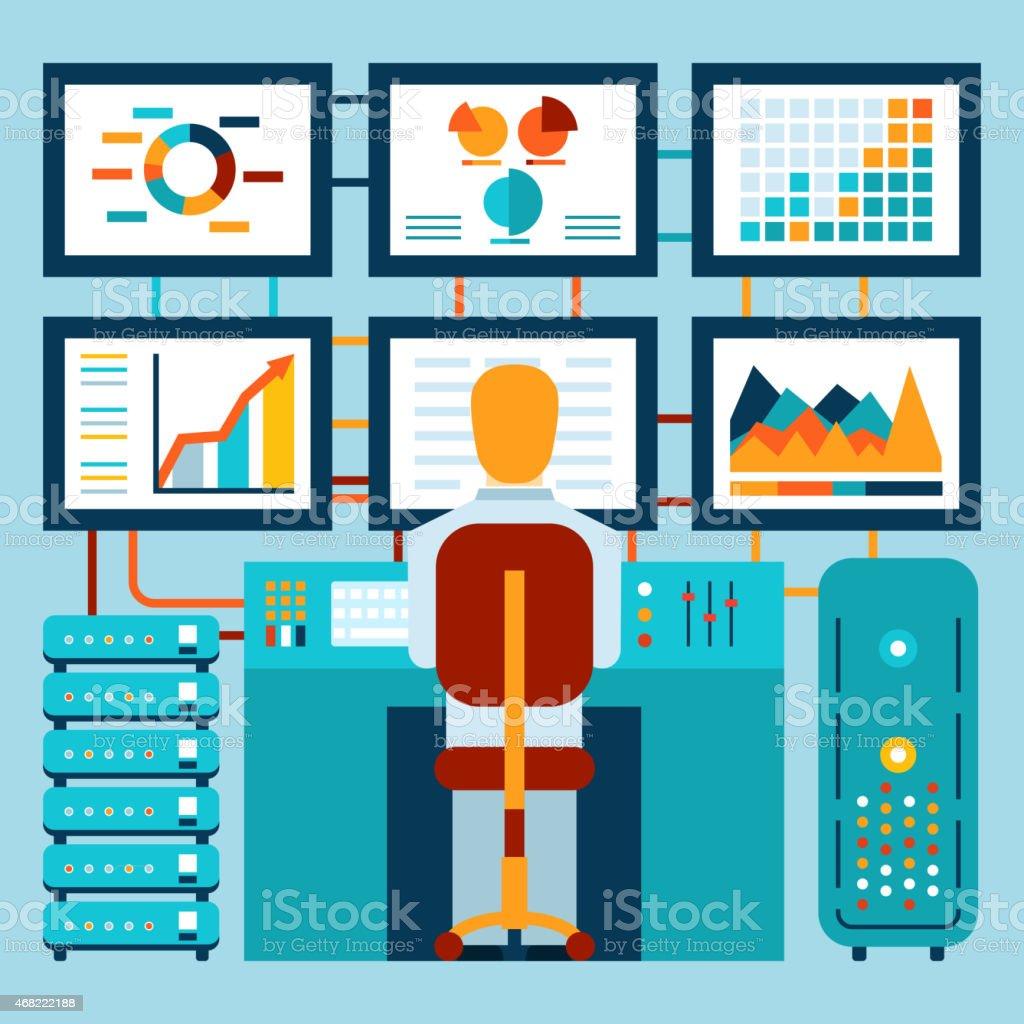 Analysis of information on dashboard vector art illustration