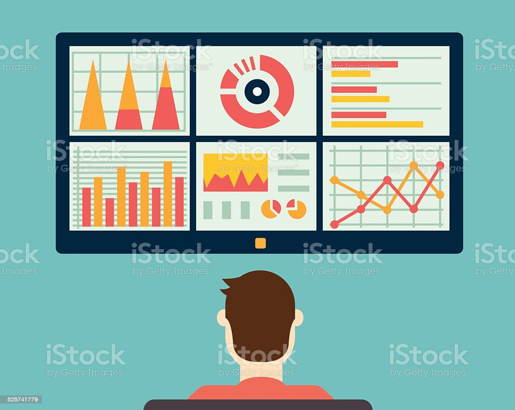Analysis of information on the dashboard. Monitoring and statistics vector art illustration