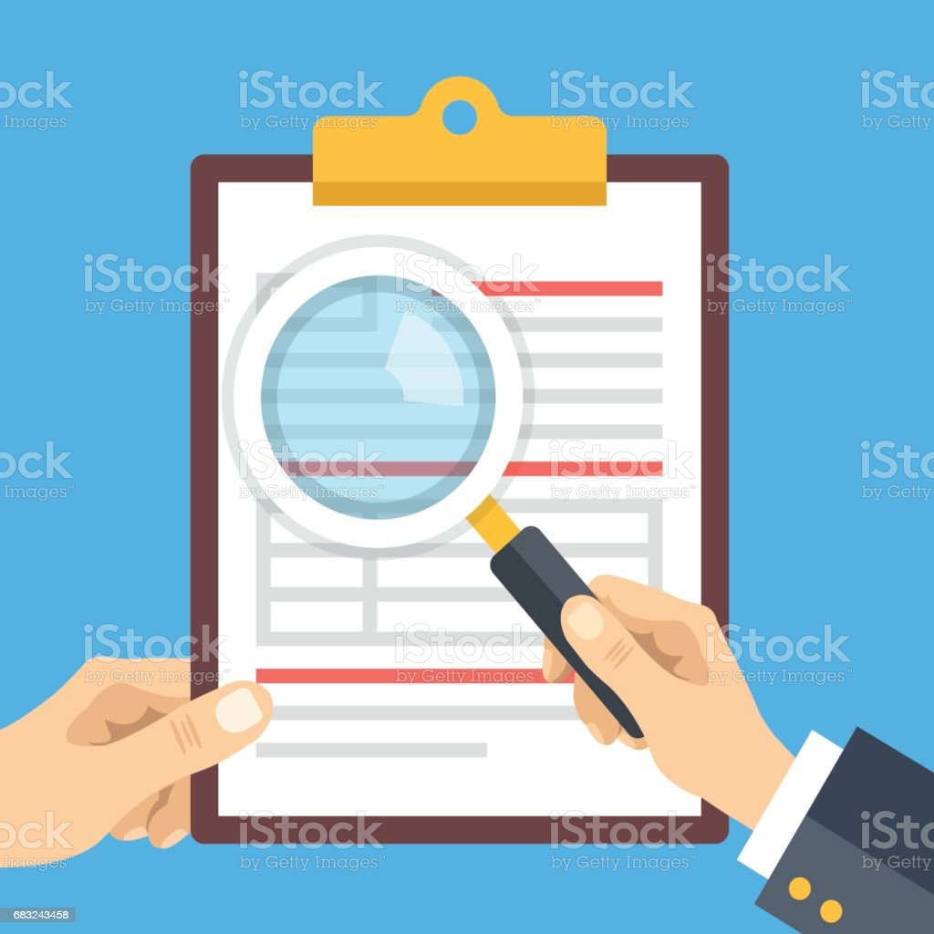 Analysis, review concepts. Hand holding clipboard with document and hand holding magnifying glass. Clipboard with document, application form. Modern flat design vector illustration vector art illustration