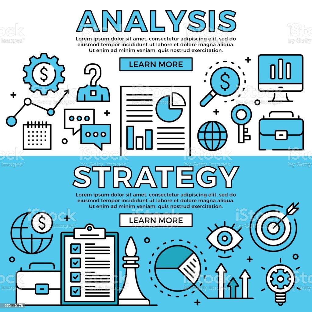 Analyse Strategiekonzepte Flaches Design Linie Banner Gesetzt ...