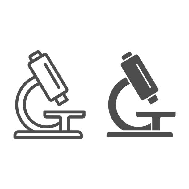 Analysis under microscope line and solid icon, Medical tests concept, laboratory equipment sign on white background, microscope icon in outline style for mobile concept, web design. Vector graphics. Analysis under microscope line and solid icon, Medical tests concept, laboratory equipment sign on white background, microscope icon in outline style for mobile concept, web design. Vector graphics lens optical instrument stock illustrations