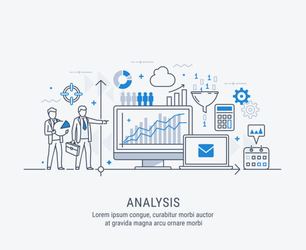 Analysis vector illustration Modern thin line design for analysis website banner. Vector illustration concept for business analysis, market research, product testing, data analysis. scrutiny stock illustrations
