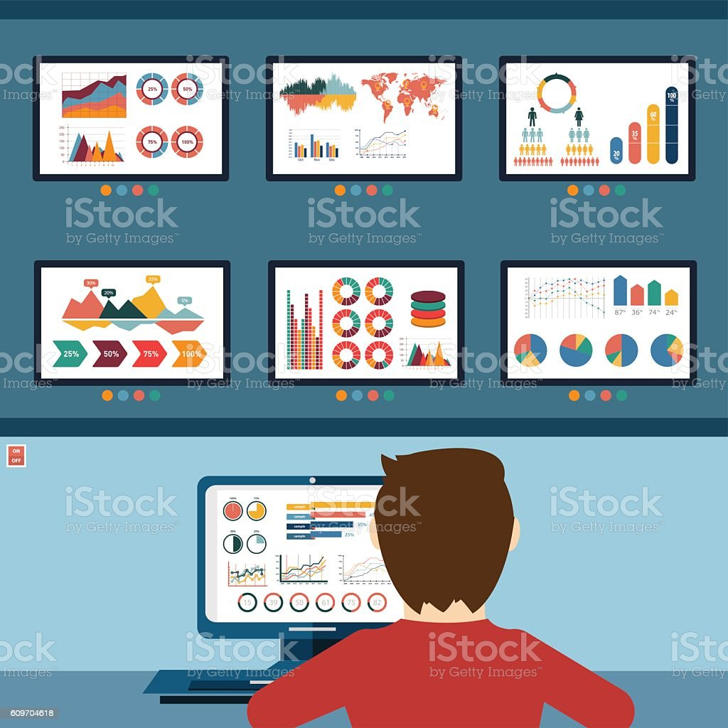 Analytic information, info graphic and development website statistic vector art illustration