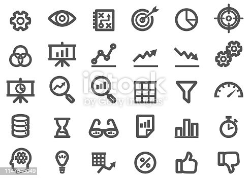 There is a set of icons about analytic and related items in the style of Thickness Line Icon.