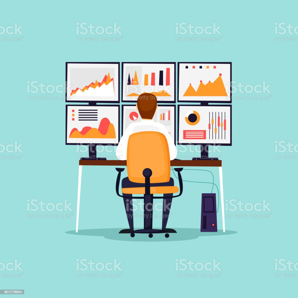 Analytik, Analyse, Risiken, Statistiken, Geschäftsmann sitzt am Computer vor Monitoren. Flaches Design-Vektor-Illustration. – Vektorgrafik