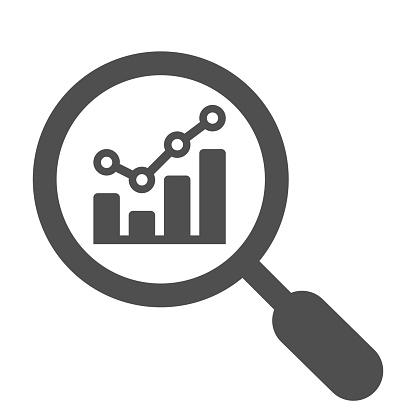 Analytics, analysis, statistics, searching gray icon