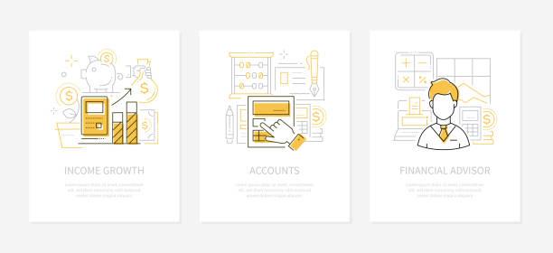 Analytics and finance - line design style banners set vector art illustration