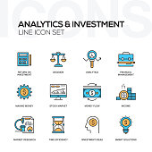 Analytics and Investment Flat Line Icons Set