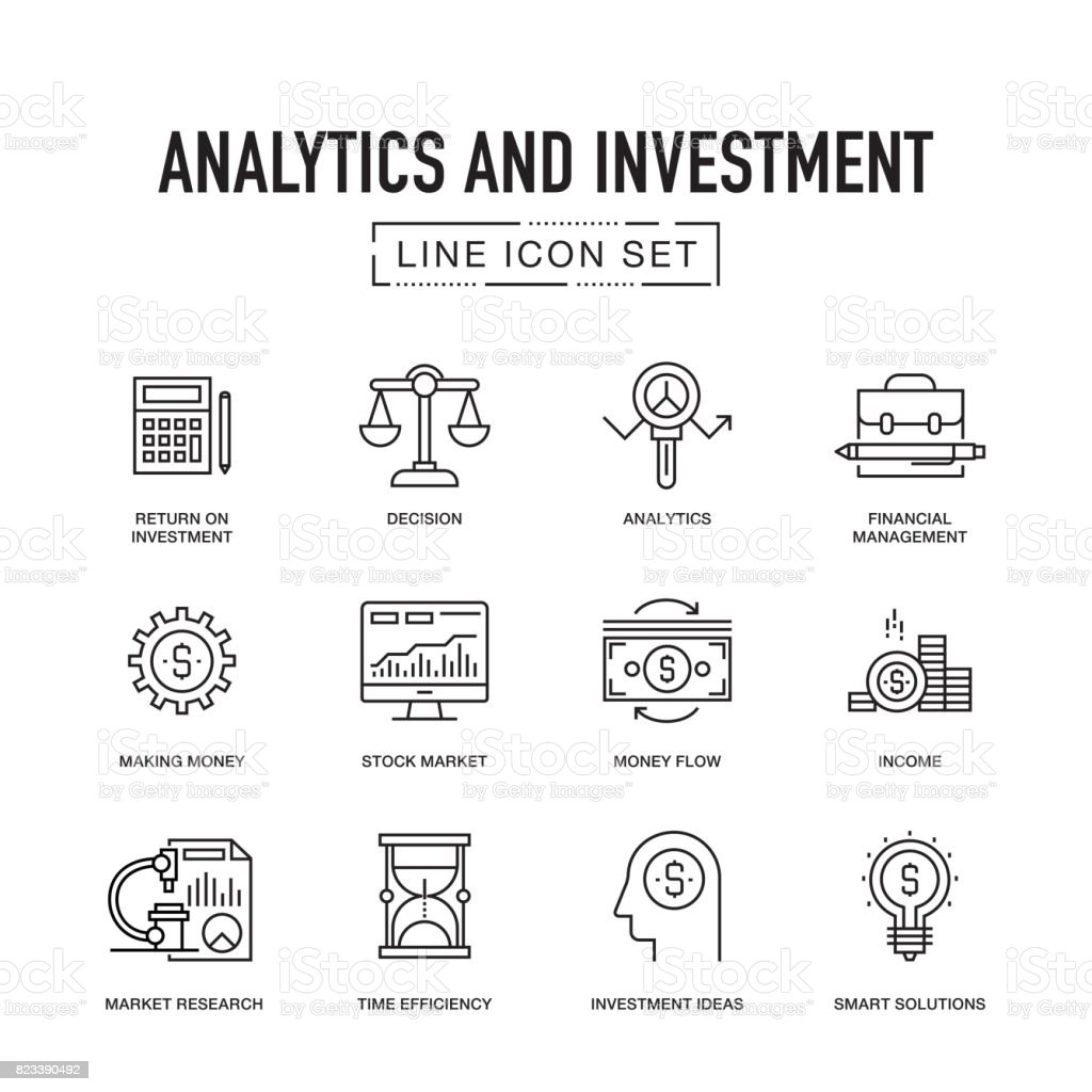 Analytics and Investment Line Icon Set vector art illustration