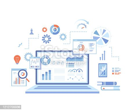 istock Analytics concept, Analysis, Analyzing, Data processing, Success strategy. Laptop with graphs and charts and  Infographic Elements. Vector illustration on white background. 1212700036