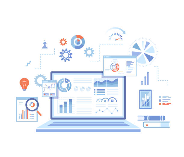 Analytics concept, Analysis, Analyzing, Data processing, Success strategy. Laptop with graphs and charts and  Infographic Elements. Vector illustration on white background. Analytics concept, Analysis, Analyzing, Data processing, Success strategy. Laptop with graphs and charts and  Infographic Elements. Vector illustration on white background. web design stock illustrations