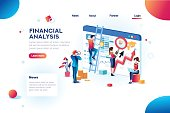 Finance analysts. Concept of analytics for website, small social presentation, magnifying infographic. Study global occupation concept with characters and text. Flat isometric vector illustration.