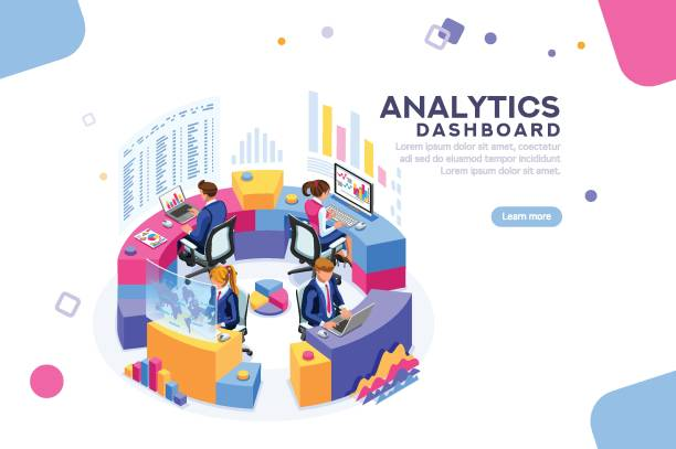 Analytics Dashboard Template Banner Charts key server statistic, performance indicators concept. Analyst on management process. analytics dashboard. Virtual screen showing sales concept. Characters on flat isometric Vector illustration. sales occupation stock illustrations