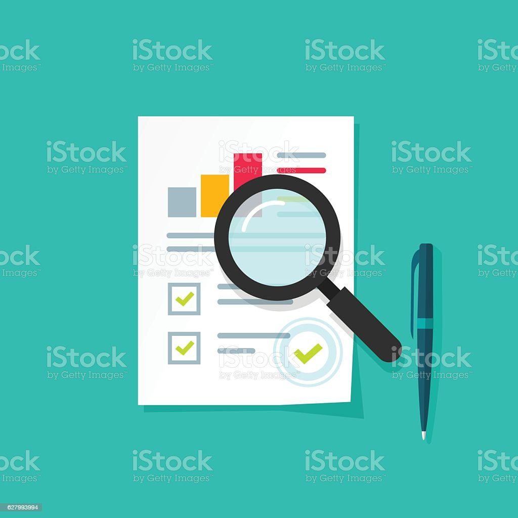 Analytics data research icon vector, analysis paper sheet document statistics vector art illustration