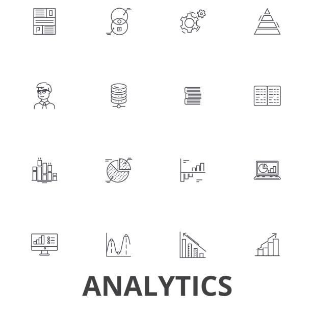 分析、データ、統計分析、グラフ、レポート、概念、図表、計画線のアイコン。編集可能なストローク。フラットなデザイン ベクトル図記号の概念。分離線形の兆候 - 金融と経済点のイラスト素材/クリップアート素材/マンガ素材/アイコン素材