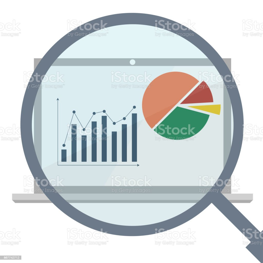 Analytics display with magnifier. Business analytics market data – artystyczna grafika wektorowa