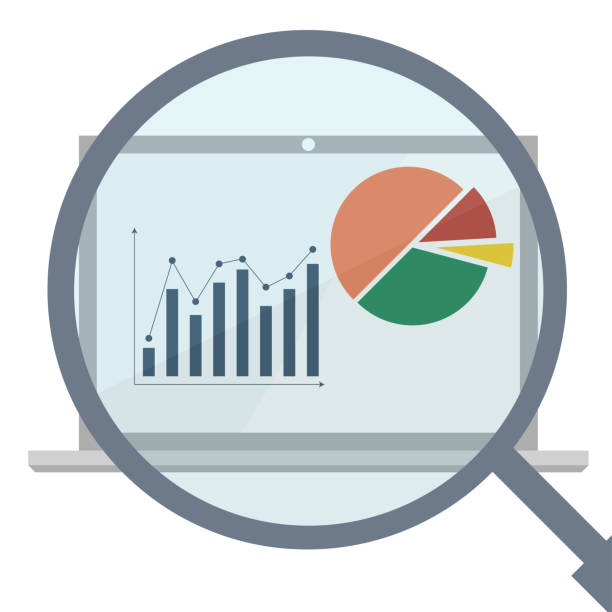 Analytics display with magnifier. Business analytics market data vector art illustration