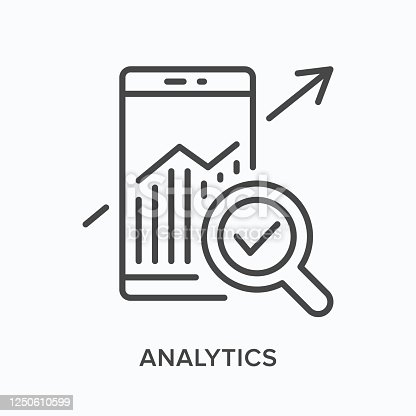 655652514 istock photo Analytics flat line icon. Vector outline illustration of mobile phone with growth chart. Seo optimization thin linear pictogram 1250610599
