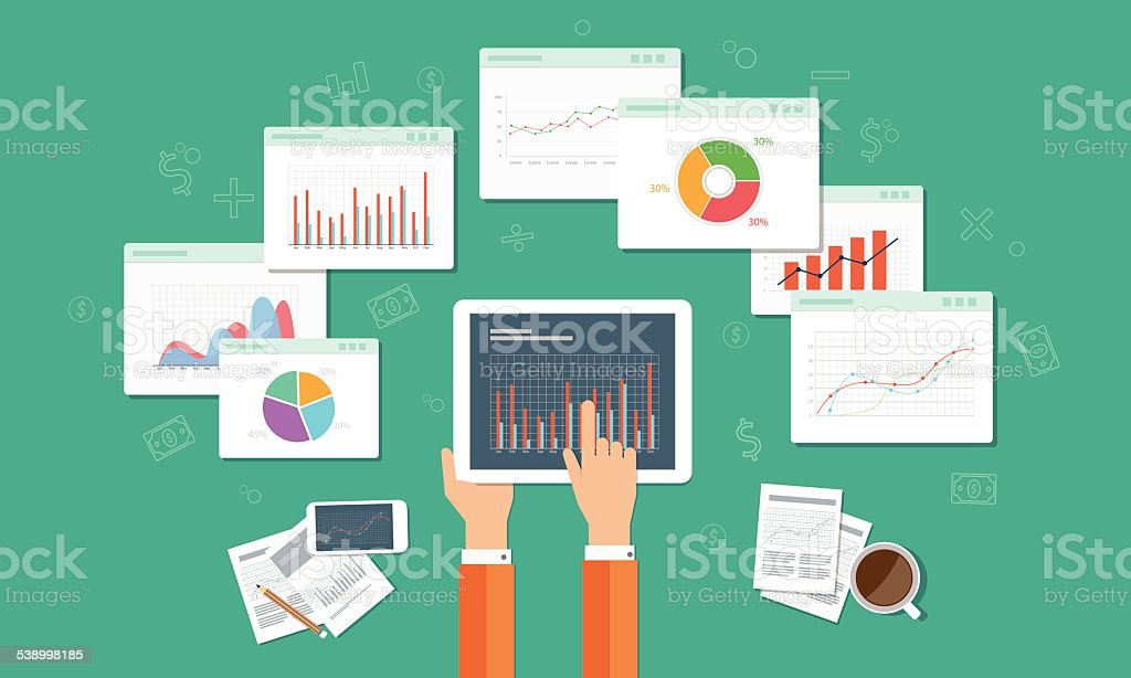 analytics graph and seo business on mobile device vector art illustration