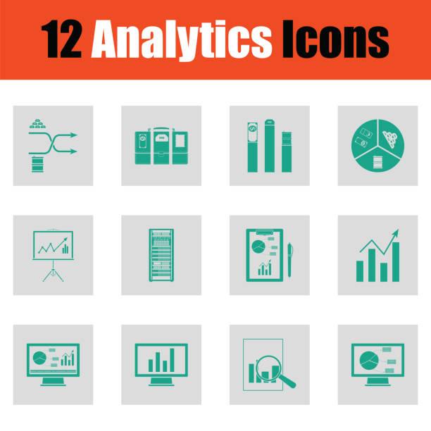 analysen icon-set - stiftehalter stock-grafiken, -clipart, -cartoons und -symbole