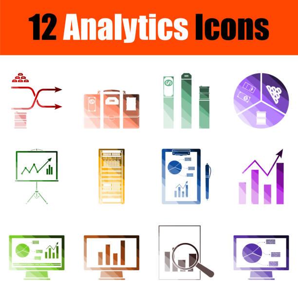 analytics icon set - stiftehalter stock-grafiken, -clipart, -cartoons und -symbole
