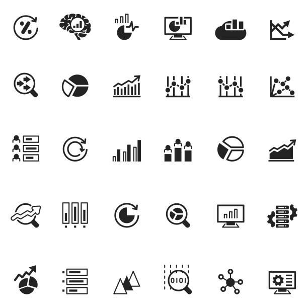ilustraciones, imágenes clip art, dibujos animados e iconos de stock de iconos de analytics - sólido